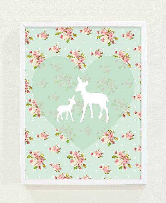 Heart Mint Green Nursery Art Pink Floral Deer Kids by fieldtrip