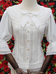 3b8bdb6c8e Lolita doce blusa plissado branco meia manga lantejoulas arcos fada  princesa hierárquico camisa Lolita