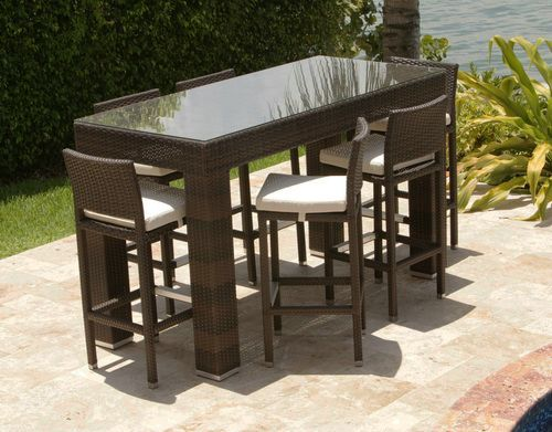 agio international panorama outdoor 9 piece high dining patio set. an indoor/outdoor bar height set with a square, contemporary design agio international panorama outdoor 9 piece high dining patio