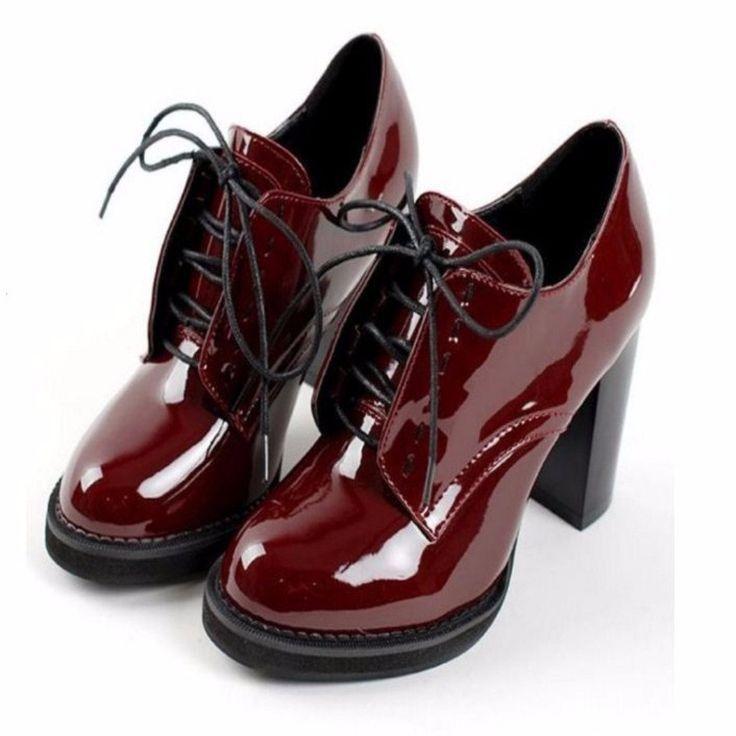 Zapatos de mujer de tacón cuadrado con cordones de moda   – Fersenschuhe