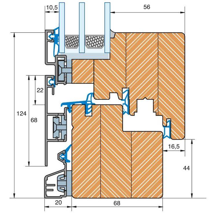 Holz-Alu Fenster Plano - Profilschnitt