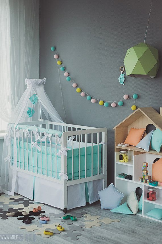 Crib canopy bed crown Origami Mint Fish - Neutral nursery mint orrange white