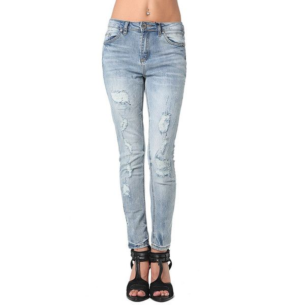High quality skinny jeans in distressed rip with highwaist - All My DIBS - 1