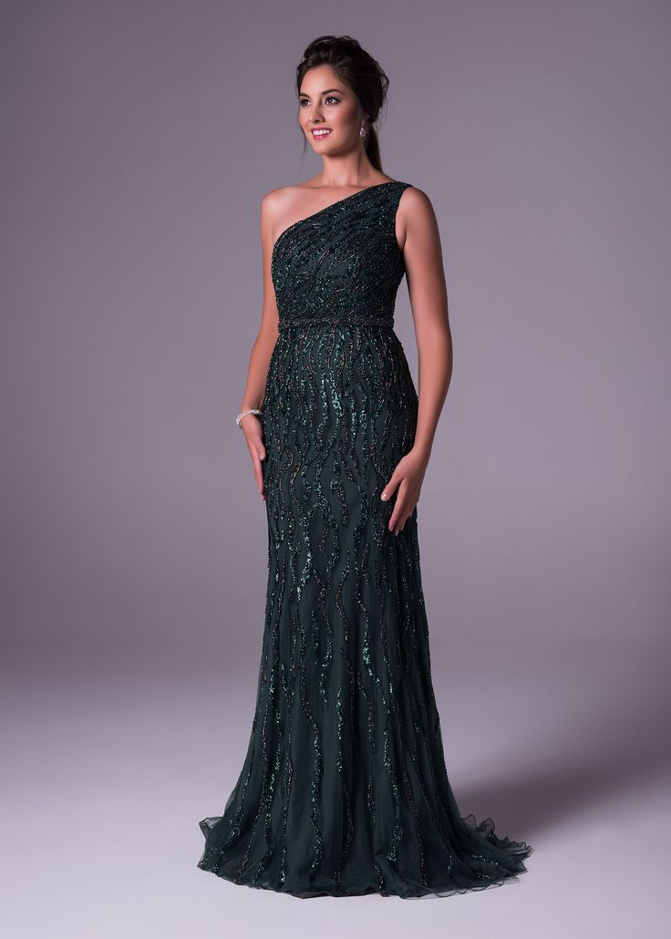 This bottle green one shoulder soft and slim chiffon gown is fully beaded and beautiful enough for the red carpet. Viola Chan has never looked better. Available exclusively at Bride&co: http://www.brideandco.co.za/product/new-collection/ch19878/