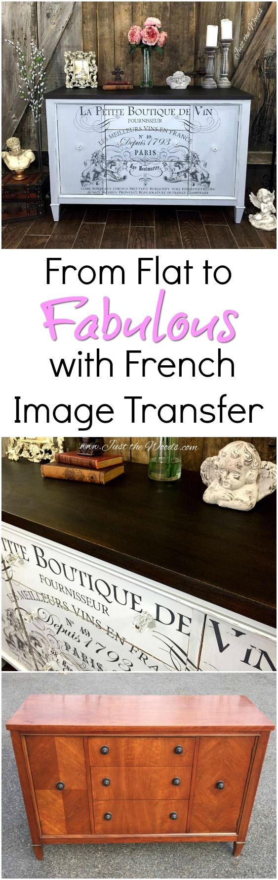 Hand Painted Vintage Buffet transformed from boring and flat to fabulous with a french image transfer.  IOD Image transfer with cloudy gray painted body and rich stain top gives this buffet a whole new look by Just the Woods, lcc