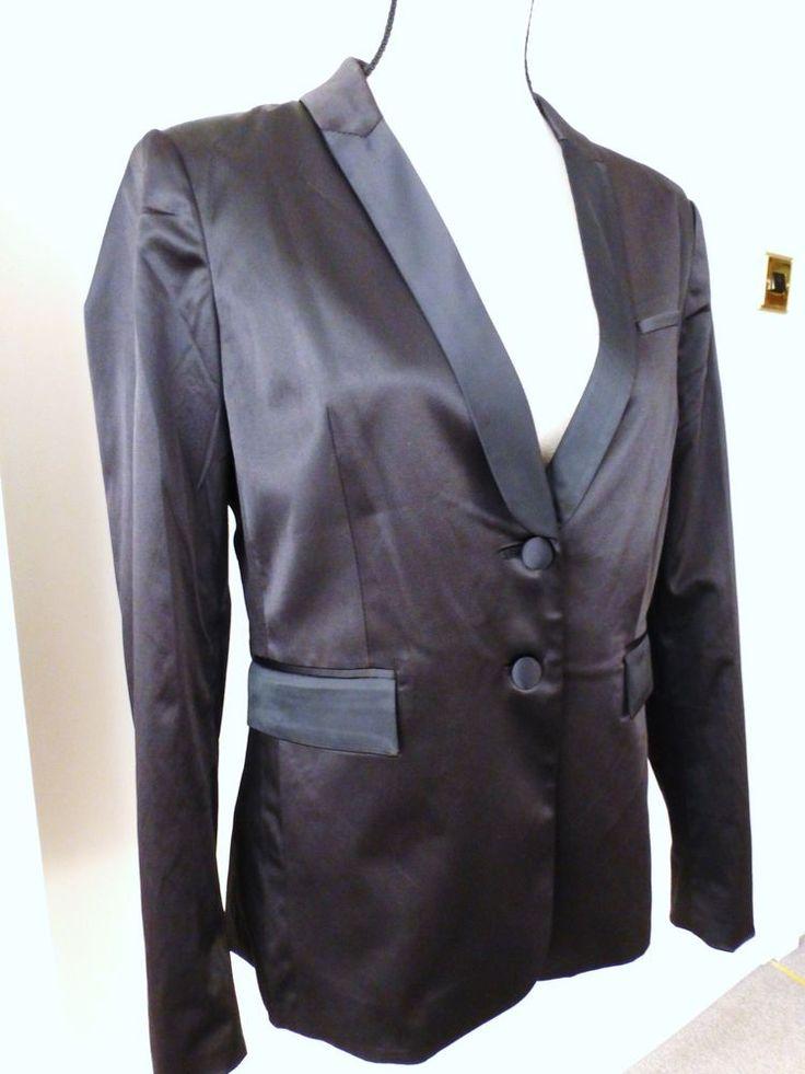 PHILOSOPHY BLUES ORIGINAL Black Shiny Tailored Cocktail Blazer Jacket BNWT 10 12