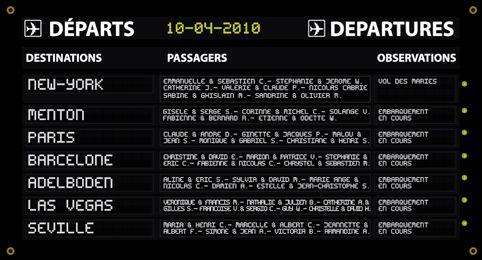 Plan de table de mariage original voyage - panneau aéroport - Airport departure board Wedding  seating placement plan