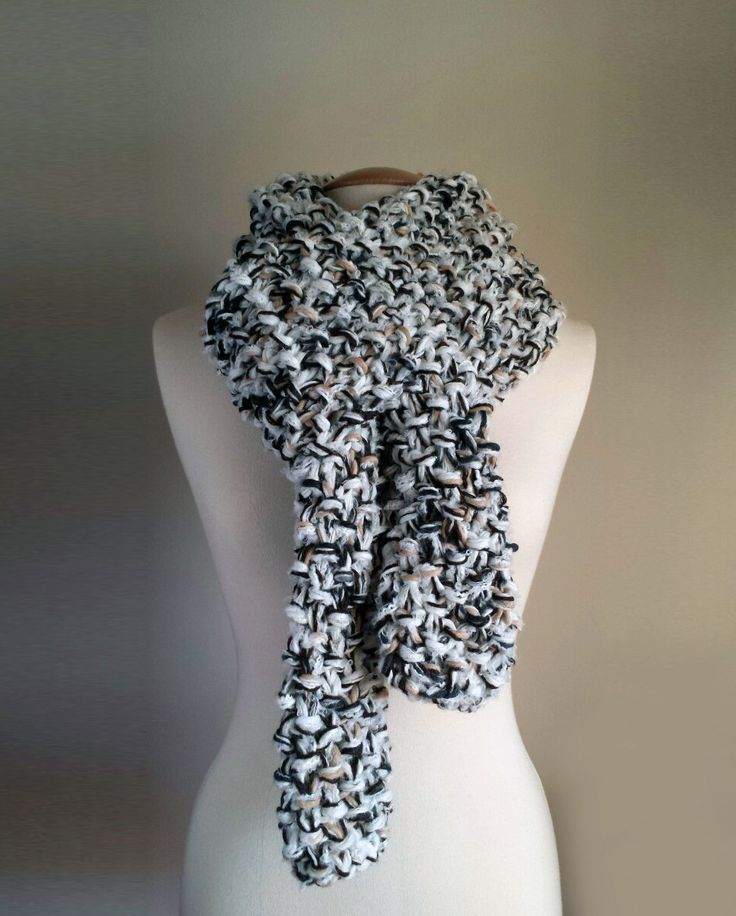 Hand knit unisex black & white scarf with brown flecks, black white chunky knit scarf, long unisex knit scarf, bulky knit scarf by ManaKori on Etsy