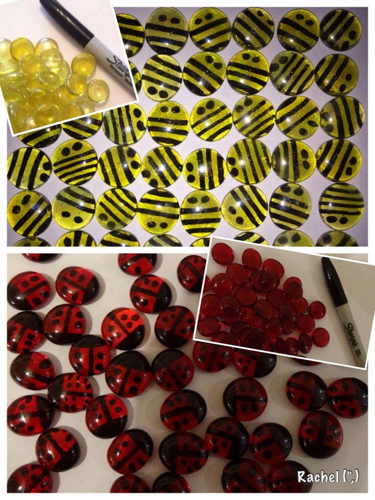 "Glass pebble bees & ladybirds from Rachel ("",)"