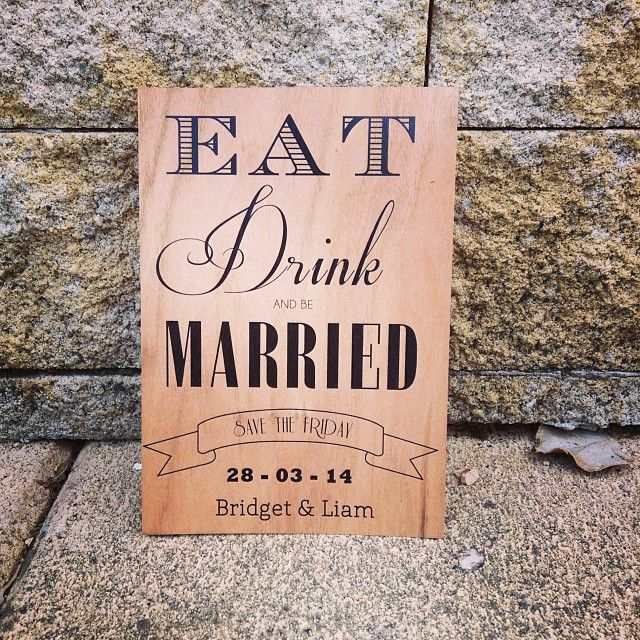 Save the date card, printed on mahogany wood. #PrintOnWood #SaveTheDate #Mahogany #Wood #Wedding #Eat #Drink #Married