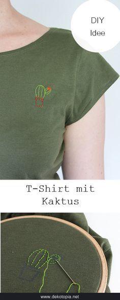 Super einfaches Sommer DIY: mache aus einem Basic Shirt ein Lieblingsteil und besticke es mit einem Kaktus.