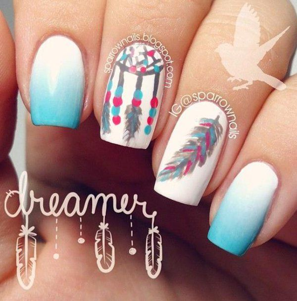 Dreamcatcher feather nail art design. Paint on this heavenly nail art by creating a blue to white gradient depicting the bright blue skies while adding Dreamcatcher and feathers on white nails.