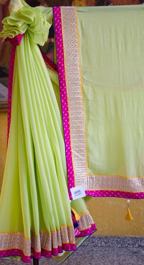 Green Crepe Saree #Vasansi