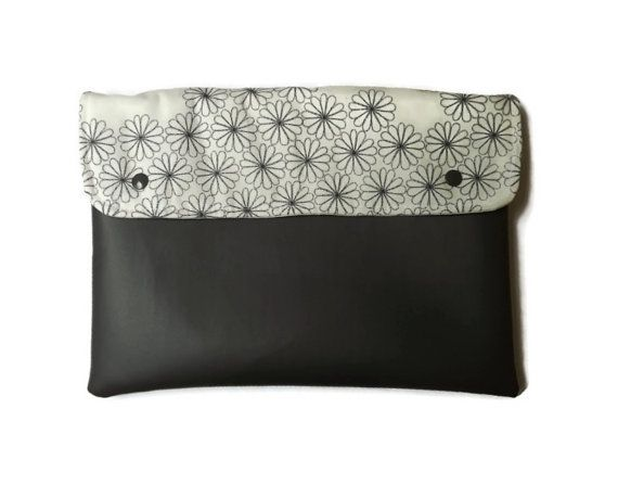Grey flowersvegan clutch/ vegan leather clutch by Monalinebags