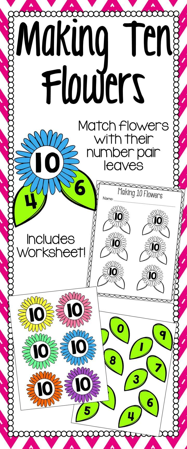 Making Ten Flowers is a great math center to use in your classroom during the spring! Students match number pairs that equal 10. Keep students accountable for their work by adding the included worksheet to your lesson. To keep the preparation of this center printer friendly, print the black and white line flowers onto fun colored paper!