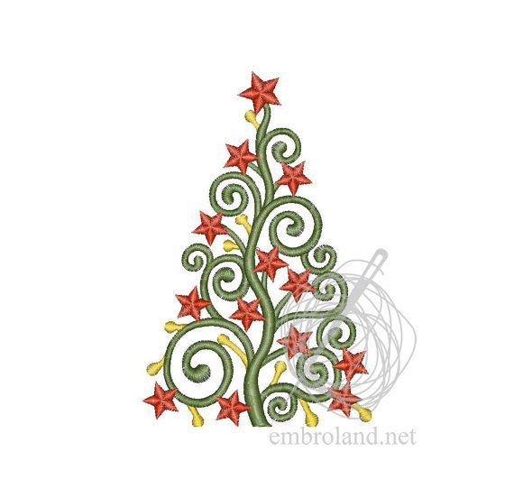 Christmas Tree - Machine Embroidery Design - Instant Download - Three sizes - Two designs
