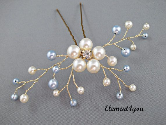 Something Blue Hair Pin, Wedding Hair Accessories, Silver wired vines, Swarovski White Blue pearls. Bridesmaid hair do, Bridal Bride pin