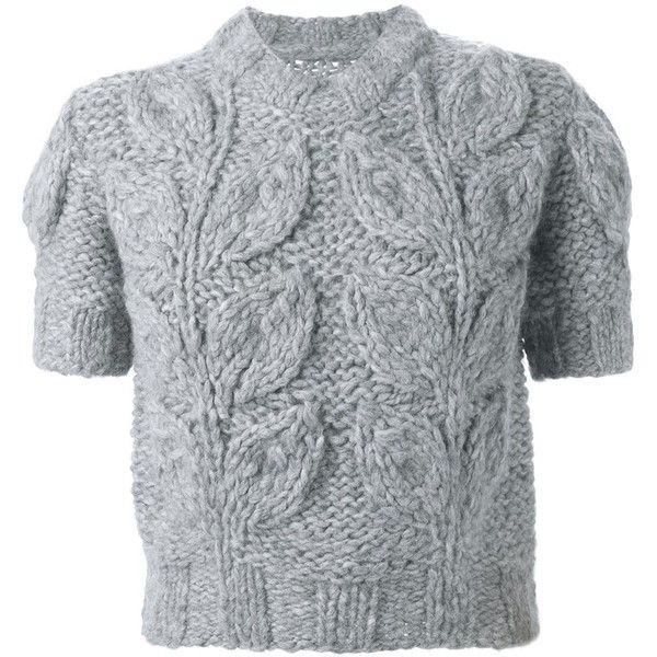 Maison Margiela shortsleeved chunky sweater found on Polyvore featuring tops, sweaters, grey, short sleeve sweater, stitch sweater, alpaca sweaters, ribbed sweater and grey top