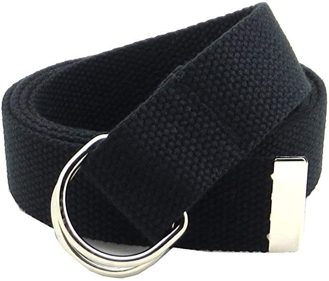 Amazon Com Thin Web Belt Double D Ring Buckle 1 25 Wide With