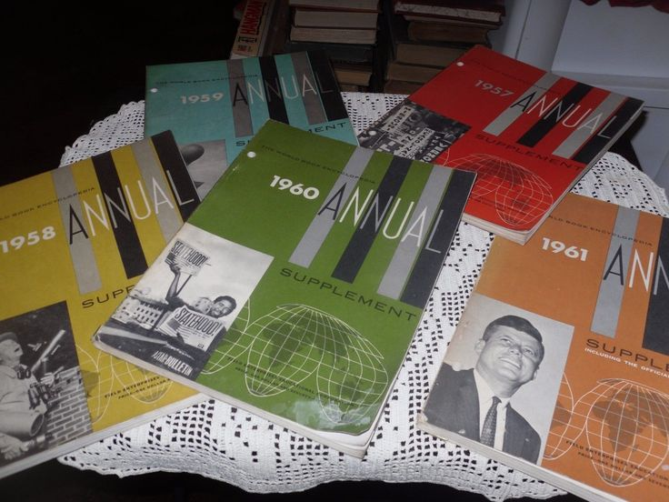 VINTAGE THE WORLD BOOK ENCYCLOPEDIA ANNUAL 1957,1958,1959,1960,1961