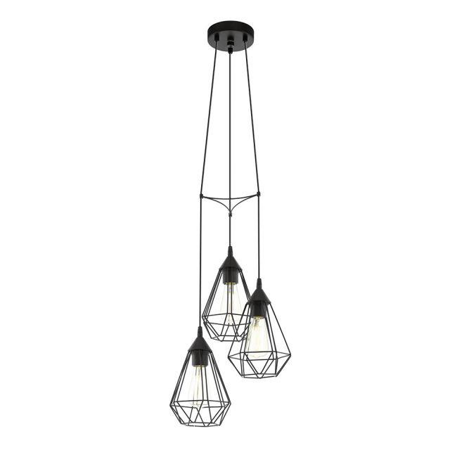 lámpara de techo de estilo nórdico formada por tres colgantes tipo jaula