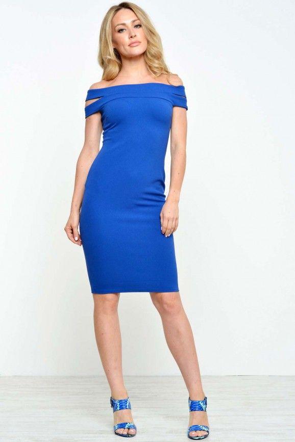 Morgan Double Bardot Midi Dress in Blue