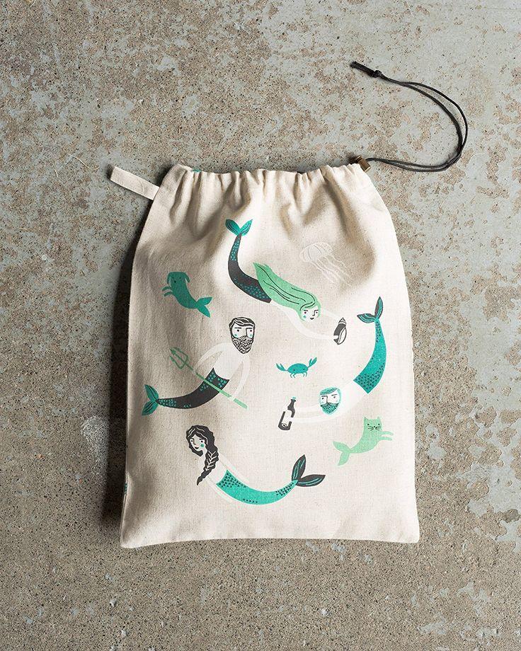 Amazon.com: Danica Studio Cotton Travel Tote Drawstring Bag, Sea Spell: Home & Kitchen