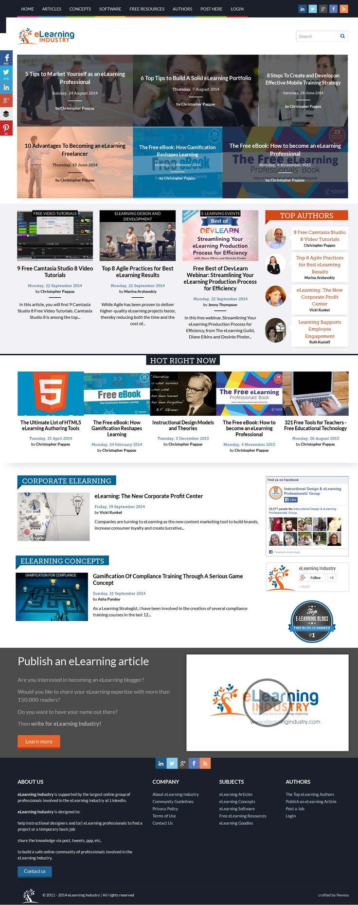 Σχεδιάσαμε και δημιουργήσαμε το ElearningIndustry.com, ένα από τα μεγαλύτερα portal για το Elearning διεθνώς. Διαθέτει πληροφορίες σχετικά με τον εκπαιδευτικό σχεδιασμό, τον τρόπο χρήσης των καλύτερων εργαλείων για την αξιοποίηση του και κριτικές πάνω στις τελευταίες σχετικές έρευνες για το Elearning. www.elearningindustry.com