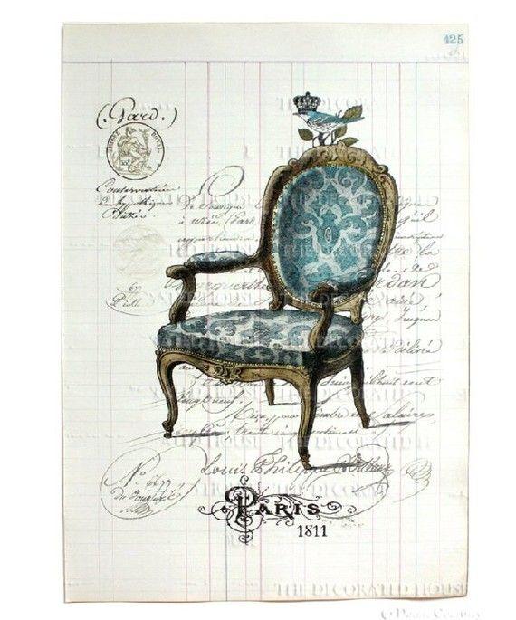 silla estilo Francés en azúl