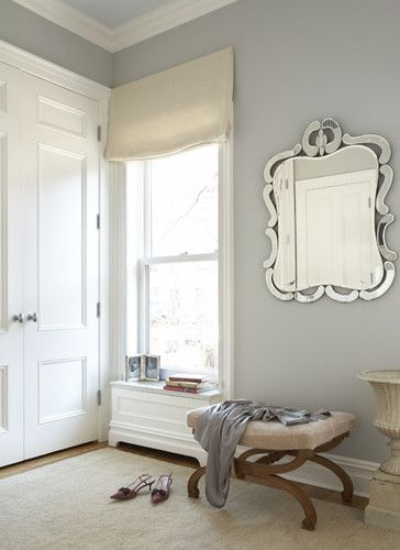 The wall color is Stonington Gray HC-170, ceiling is Gray Sky 2131-70, and trim is Super White, all by Benjamin Moore.