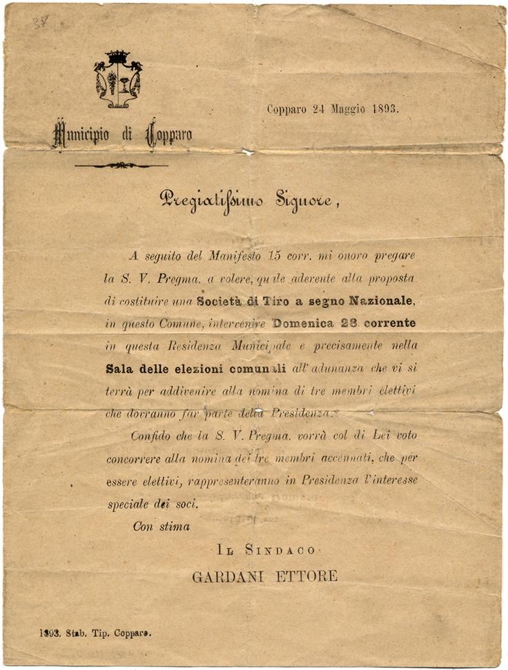 Copparo, 1893: tiro a segno (apertura del poligono di tiro)