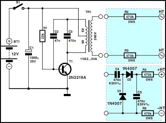Mini High Voltage Generator  Circuit  Electronics