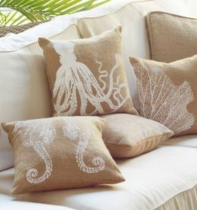 Beautiful burlap pillows to accompany your theme.