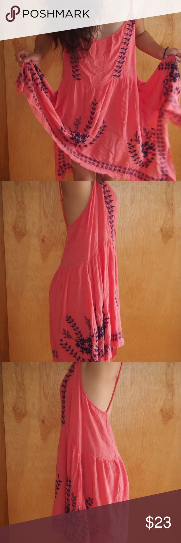 Free People Coral Pink Embroidered Dress Free People Coral Sundress with braided trapeze back and blue embroidery. Long, flowy and super comfortable. Frayed at the ends. Super Cute! Free People Dresses Midi