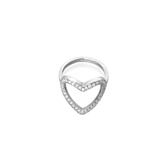 Sometimes it takes more than words! This feminine yet eye catching heart shaped ring works with every look. The heart is encrusted with sparkling Cubic Zirconias set in Sterling Silver . A great girlie gift or a cute treat for yourself. Heart measures- 4cm in height and is available in a Ring Size M.