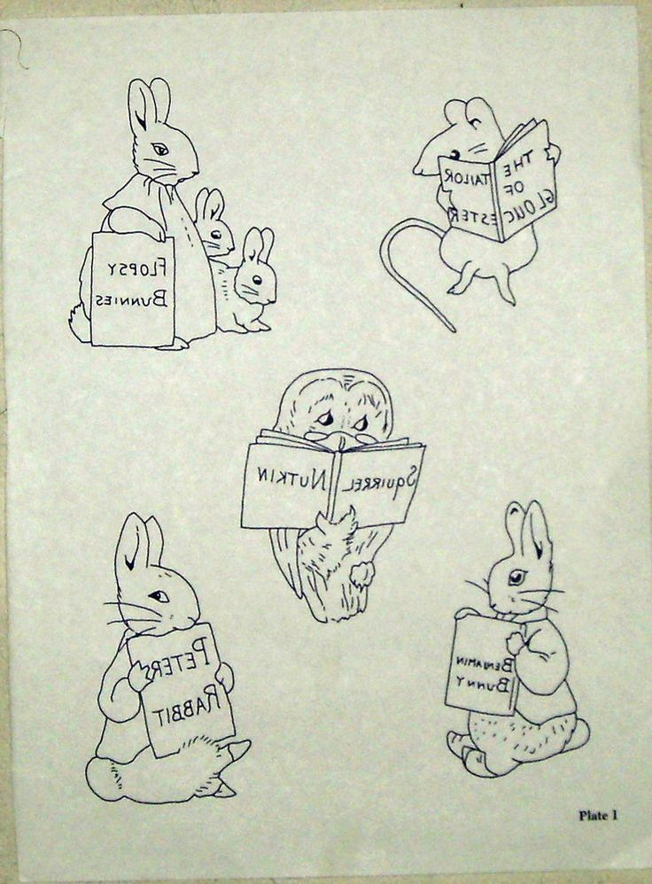 Vintage embroidery transfer - Beatrix Potter - assorted characters with books
