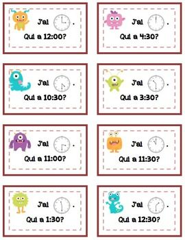 "French Time ""I Have, Who Has?"" (00's and 30's) ""J'ai..Qui A"" 26 cards"