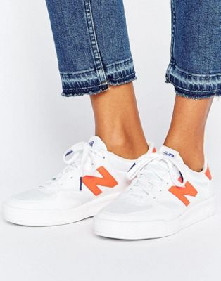 New Balance 300 Court Trainers In White And Neon Orange