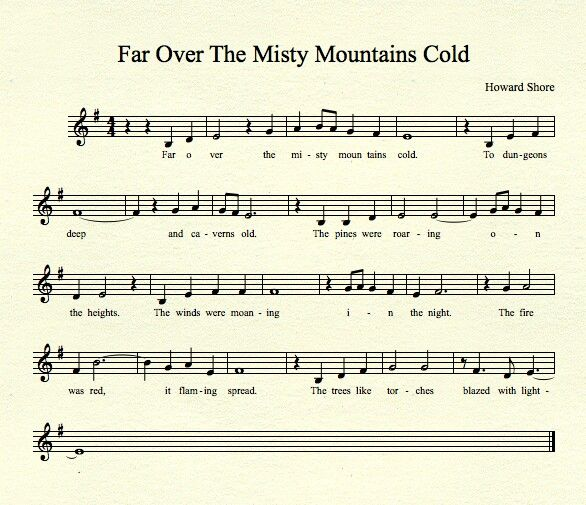 Sheet Music For Far Over The Misty Mountains Cold