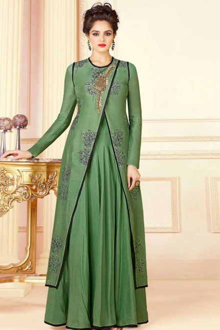 3f7c799d5d Stylish opera house Table Printed Gown in Green With Jacket