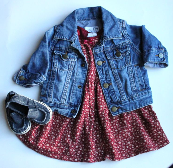 Baby Girl Outfit.  Denim Jacket, Dress And Shoes All Baby Gap.  Cute and Classic!  All Items from our Baby Clothes Resale Store.