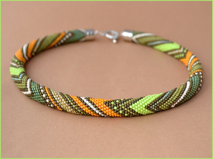 "Bead crochet necklace ""Between Summer and Autumn"""