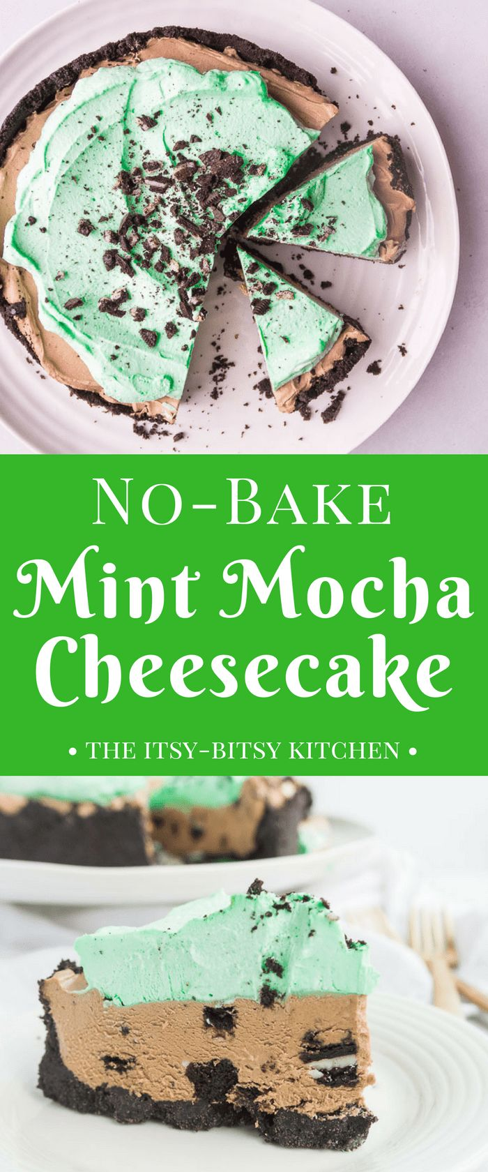 This easy no-bake mint mocha cheesecake features a creamy mint mocha cheesecake filled with Oreo cookies topped with cool and minty whipped cream. It's a delicious and refreshing summer dessert! recipe via itsybitsykitchen.com #nobake #cheesecake #chocolatemint