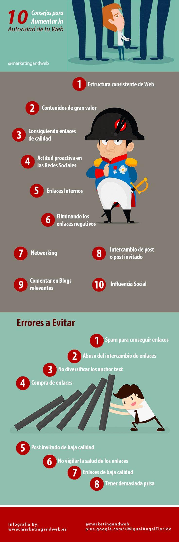 Hola: Una infografía con 10 consejos para aumentar la autoridad de una web #SEO. Vía Un saludo