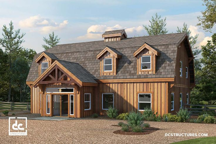 The Alberta Barn Home Kit features a post and beam floor plan with three bedrooms, two bedrooms and an office, all in a classic gambrel style.