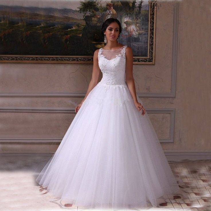Vintage Illusion White Ivory Princess Wedding Dress 2016 Country Western Gowns