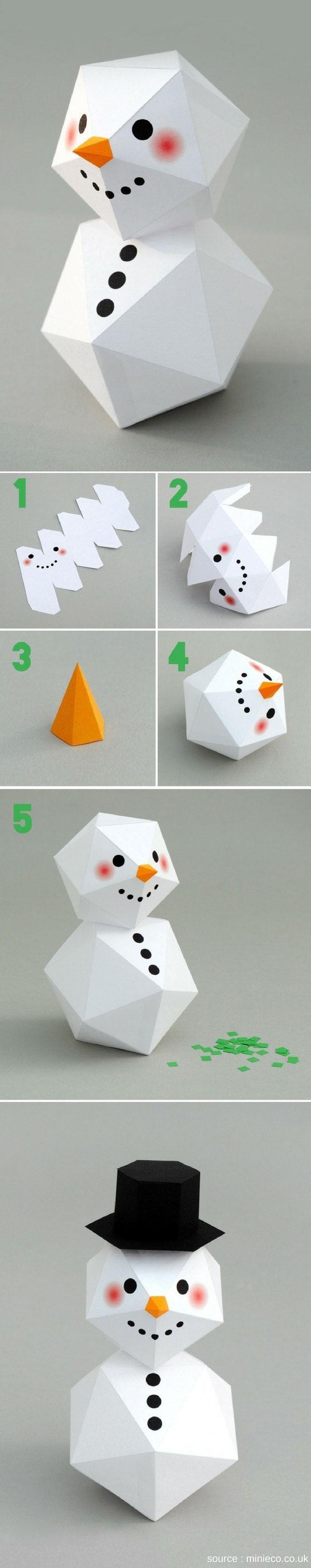 Un bonhomme de neige géométrique et origami à fabriquer pour une décoration de Noël moderne et graphique !