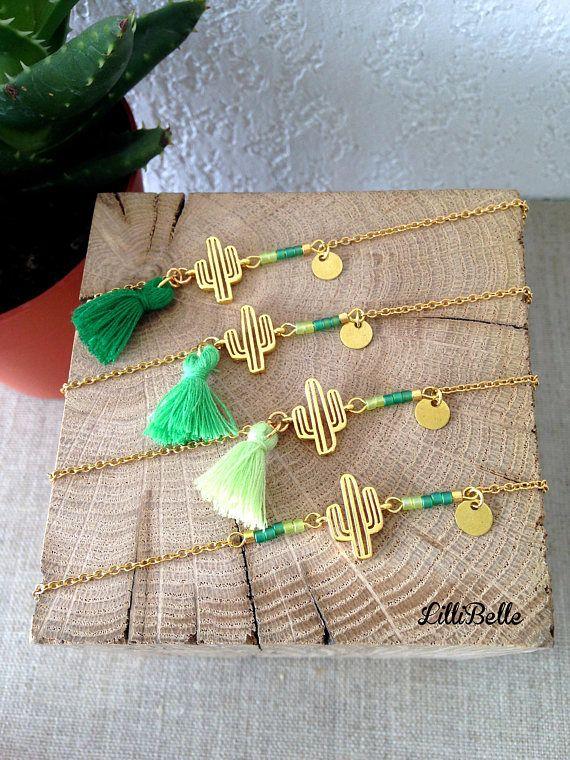 Bracelet fin cactus esprit bohème chic tendance été 2017