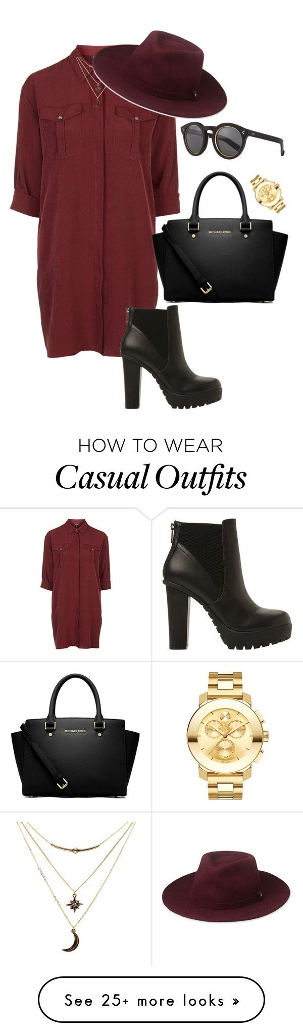 """Casual#24"" by jajina-morongova on Polyvore featuring Topshop, Steve Madden, MICHAEL Michael Kors, Charlotte Russe, Whistles, Illesteva and Movado"