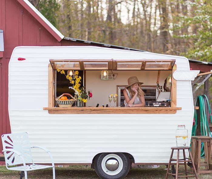 A mobile bar on wheels. Airstream bar. Perfect for weddings and events